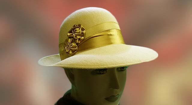 Különleges sárga alkalmi nyúlszőr női kalap - Kalapszalon kalapok ... 73c80e9b0b