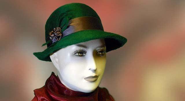 7e44e02838 Zöld meluzin nyúlszőr női kalap - Kalapszalon kalapok sapkák nagy ...
